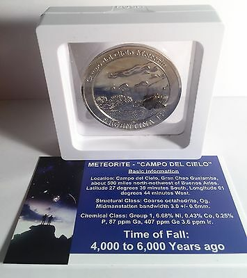 """RARE"" Meteorite Medallion/Coin 45mm with Info/Cert and Display Stand Silver HSE"