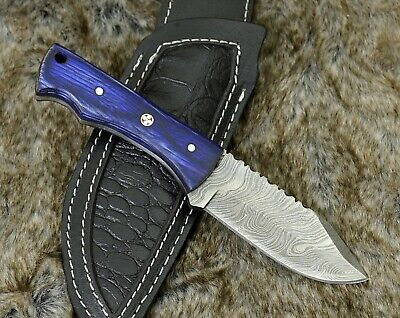 "Handmade Damascus Steel 9.0"" Hunting knife olive walnut & horn inlay full tang"