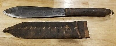 """Rare Revolutionary War Era Soldier's 12"""" Stag Knife & Sheath Cowhide Leather"""