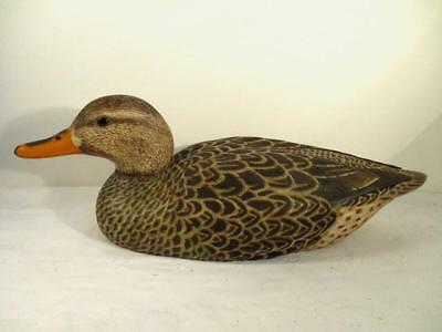 Vtg Hand Carved/Painted Duck Decoy-Glass Eyes-Female Mallard-Jim Gioan 1988