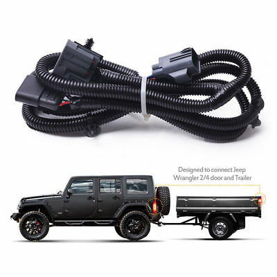 mictuning 65 trailer hitch wiring harness kit 4 way 07 17 jeep rh picclick com jeep trailer hitch wiring kit jeep towed vehicle wiring kit