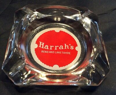 Vintage Harrah's Barware Ashtray Reno Lake Tahoe Clear Red Advertising