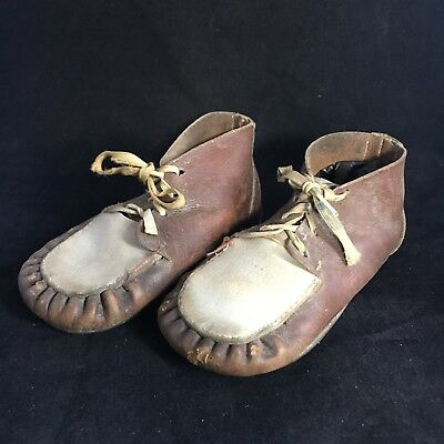Vintage Two Tone Brown White Leather Lace up Baby Toddler Children's Shoes Doll