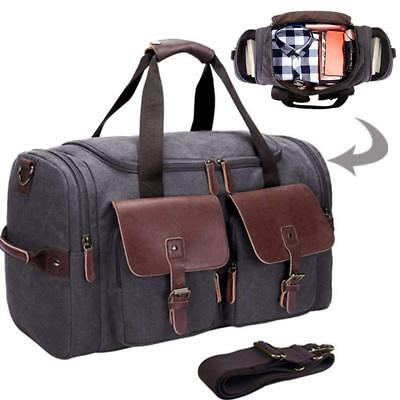 ca3523398b Canvas Duffle Large Genuine Leather Weekend Overnight Men Women Travel Tote  Bag
