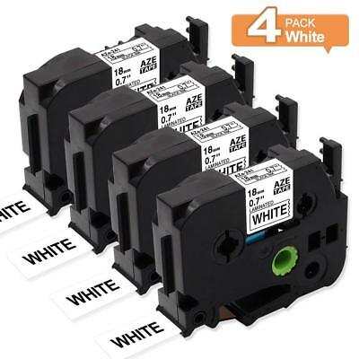 4PK Label Tapes Makers TZe-241 Compatible Brother P-touch Black on White 18mm