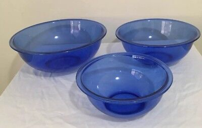 Pyrex Round Glass Mixing Bowls X 3 Cobalt Blue Made In USA Excellent Condition