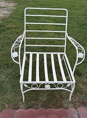 "Vintage Woodard ""chantilly Rose""  Mid Century Wrought Iron Arm Chair"