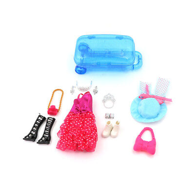 Doll Accessories Travel Suitcase With Dress Hat Shoe Jewelry Set For  Gift jfd