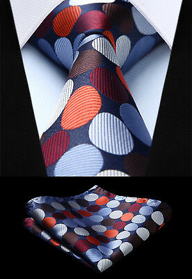 Polka Dot Orange Blue Mens Ties Woven Silk Necktie Handkerchief Set TD3005N8S