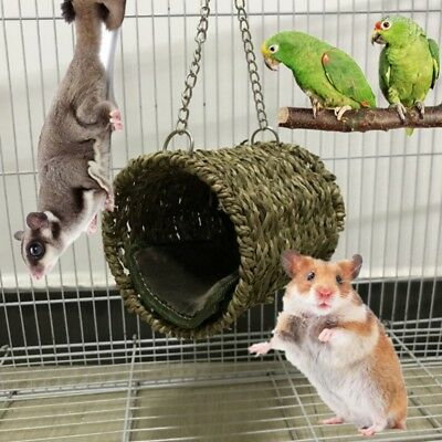 Grass Hammock Toys Mouse Hamster Parrot Hanging Nest Bed House Swing AU