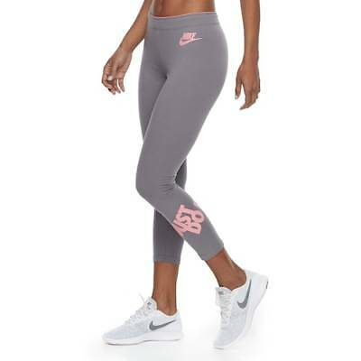 Nike Womens Sportswear Crop Ankle Leggings GUNSMOKE/PINK (Size MEDIUM) NWT