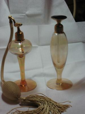 Beautiful Pair of Iridescent Vintage/Antique Devilbiss Perfume Bottles!
