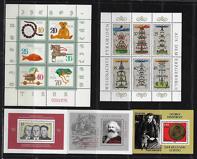 Germany / DDR Stamps — Various 5 Souvenir Sheets MNH — Lot 8763