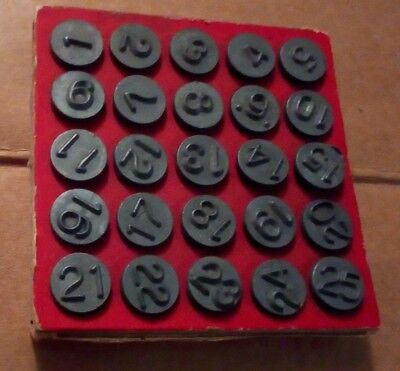COMPLETE SET of Vintage 1948 Acro Window Markers Numbering Tacks in original box