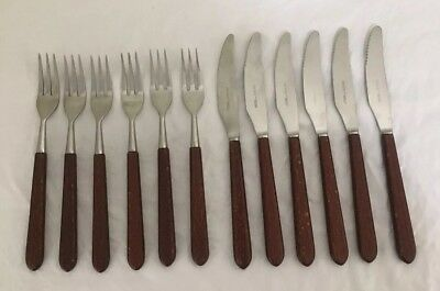 Faux Bone Handle 6 Knives & 6 Forks John Mason Of Sheffield England Ex Cond