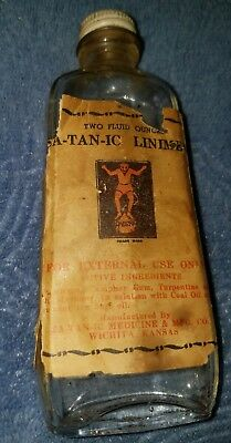 SA-TAN-IC LINIMENT - Vintage Bottle w/ Paper Label - Muscle Rub - RARE AS HELL