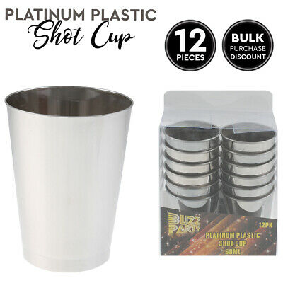 12 Platinum Shot Glasses Plastic Tumblers Cup Drinking Parties Picnics 60ml