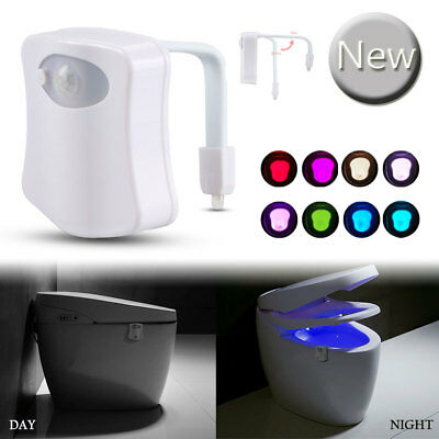 LED Night Light Toilet Bathroom PIR Motion Activated Seat Sensor 8Color Changing