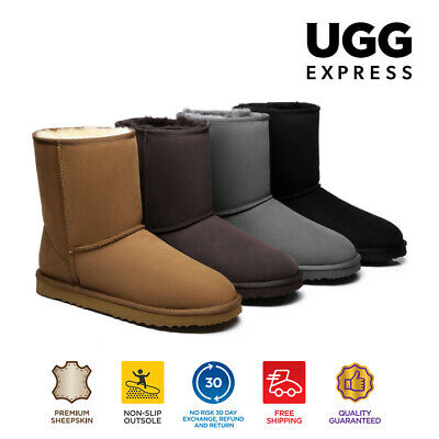 UGG Men Large Size Boots Short Classic, Premium Australian Double Face Sheepskin