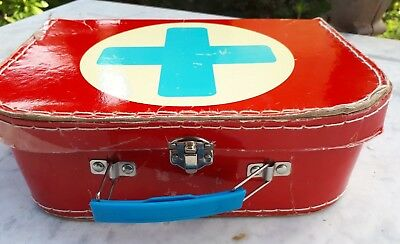small vintage 1960 medical doctor first aid nurse play dress up case