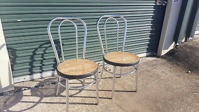 2 Chrome Bentwood Ice Cream Parlor Woven Cane Thonet Style Chairs Made In Spain