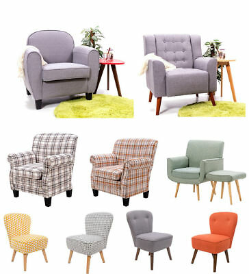 Modern Linen Fabric Tub Chair Upholstered Armchair Living Bedroom Office Chairs