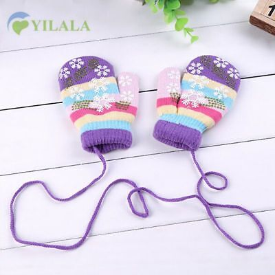 Baby Glove Snowflake Winters Warm Knitted Toddler Mittens Cotton Stripped Kids