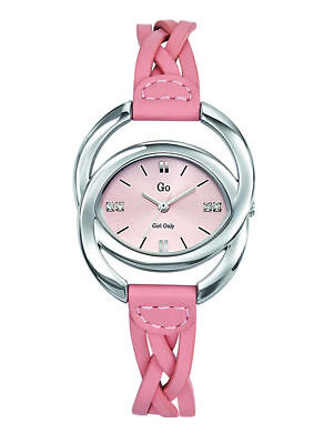 Go Women's 697902 Oval Brass Pink Dial Pink Leather Wristwatch