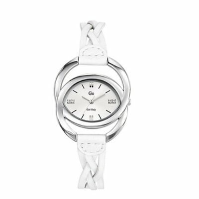 Go Women's 697900 Oval Brass Silver Dial White Leather Wristwatch