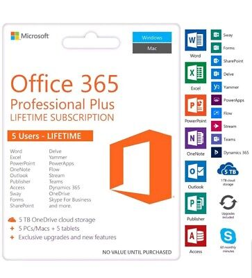 New Microsoft Office 365 Home Lifetime 5 Users - PC Mac and or Tablet
