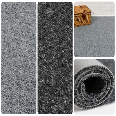 CHEAP HEAVY DUTY Black - Grey Berber Loop Pile Carpet Remnant/Roll End