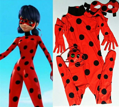 Kids Girl Miraculous Ladybug Fancy Dress Cosplay Costume festival Jumpsuit Hot