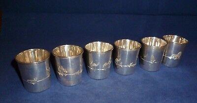 Set of 6 Egyptian Silver Tot Cups with Differing Chased Decorations