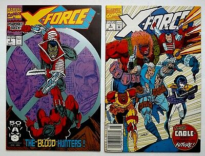 Marvel Comics X-Force #2 & 8 Lot 2Nd Appearance Deadpool Domino Origin Cable Vf+