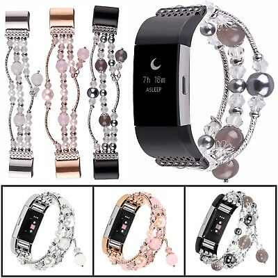Bling Faux Pearl Beaded Bracelet Watch Band Strap For Fitbit Charge 3 Tracker