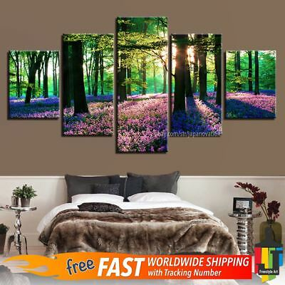 5 Pieces Home Decor Canvas Print Wall Art Trees Forest Purple Lavender Flowers
