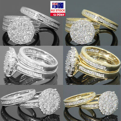 Women Engagement Wedding 2Pcs Set 18k Cubic Zirconia Gold Plated Ring Gifts