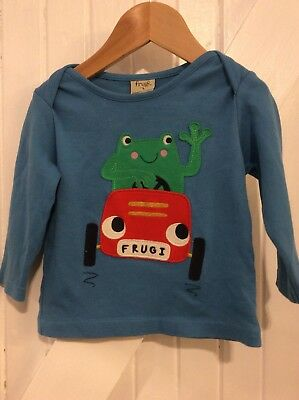 Frugi 6-12 Months frog in a car  Applique Long Sleeve top blue  Organic Cotton