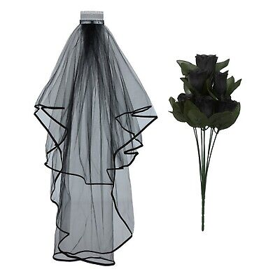 Halloween Corpse Bride Black Wedding Veil Roses Day Of The Dead Fancy Dress Part