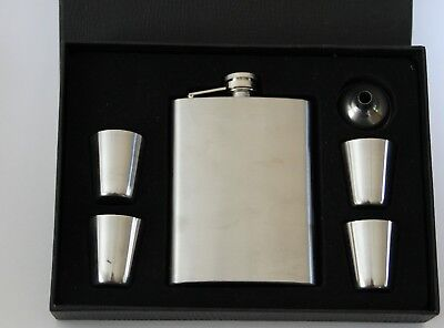 Stainless Steel Hip Travel Flask Set 8oz With Cups And Pourer New In Box