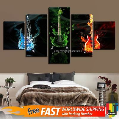 5 Pieces Home Decor Canvas Print Wall Art Music Guitar Rock Abstract Poster