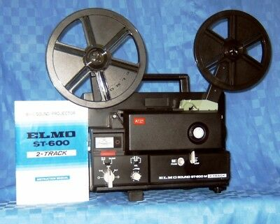 Super 8 Sound Movie Projector  2 Track  Elmo St-600M   Excellent Fully Serviced