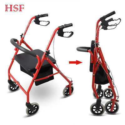 "Folding Aluminum Rollator 6"" Casters Adult Senior Medical Aid Walker Padded Seat"