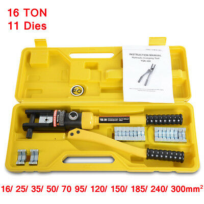 16 Ton Hydraulic Crimper Stainless Steel Crimping Tool for Cable Lugs W/ 11 Dies