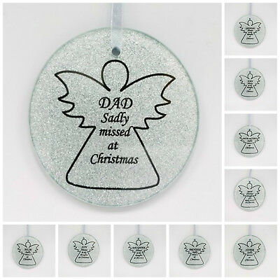 Glass Silver Angel Christmas Tree Hanging Plaque/Decoration Memorial XmasBauble