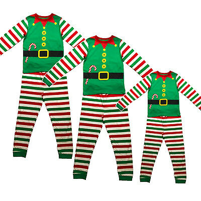 Family Mum Dad Kids Christmas Elf Festive Xmas Pyjamas PJ Set Made By Elves
