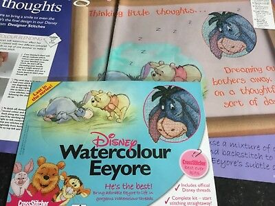 Disney Watercolour Eeyore Cross Stitch Cover Kit, Illustrated Mount and Chart