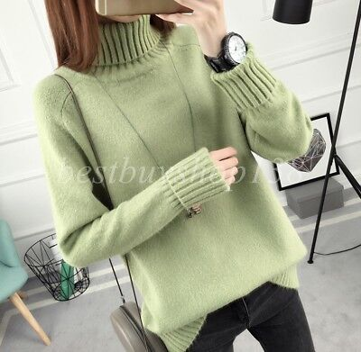 Women Lady Turtle Neck Knitted Loose Warm Sweater Winter Pullover Jumper
