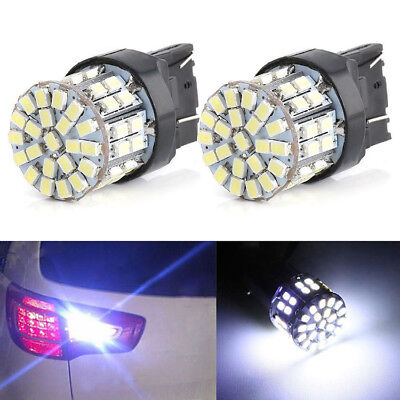 2X T20 7443 3020 W21/5W Car White 64 SMD LED Stop Tail Brake Turn Light Bulb 12V