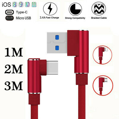 Elbow Metal Heavy Duty Braided IOS Micro USB Type-C Data Sync Fast Charger Cable